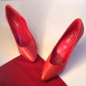Clarks Leather Red Pointed Toe Heels